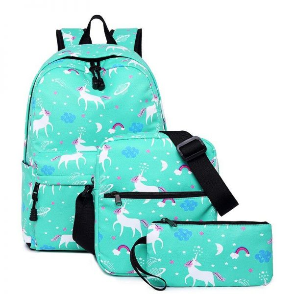 backpack unicorn blue with drawings bag and backpack unicorn