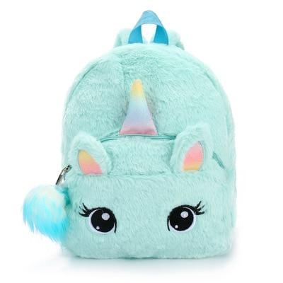 backpack unicorn blue with pompom