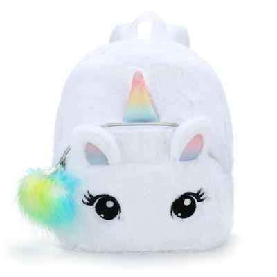 backpack unicorn white with pompom not dear