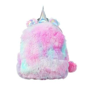 bag at back unicorn in fur pink and blue not dear