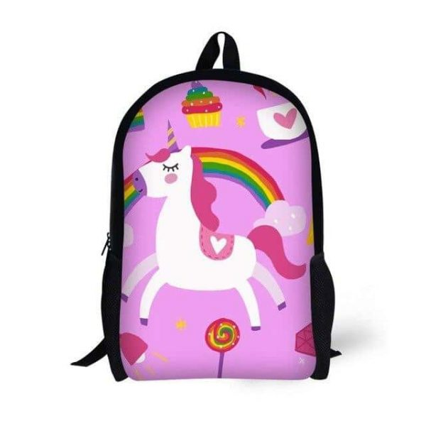 bag at back unicorn pink bow in sky