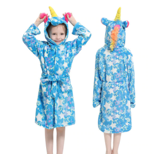 bathrobe unicorn girl blue star 11 not dear