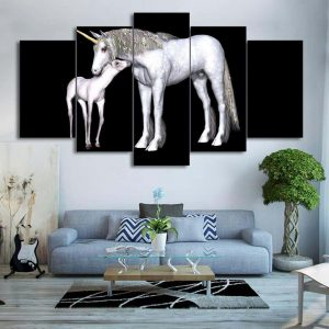 board unicorn and his foal 10x15 10x20 10x25cm with frame