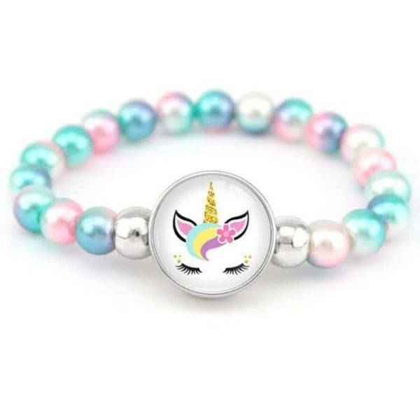 bracelet unicorn of pearl blue and pink buy