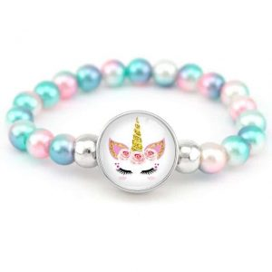 bracelet unicorn of pearl pink candy and blue jewelry unicorn