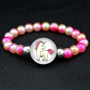 bracelet unicorn pearl yellow and rose