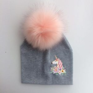 cap unicorn with pompom boy grey not dear