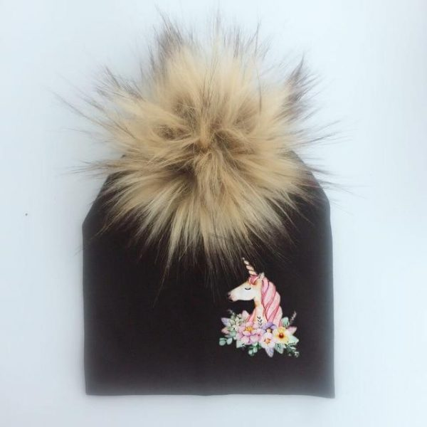 cap unicorn with pompom girl black at sell