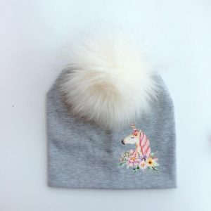 cap unicorn with pompom grey drawing not dear