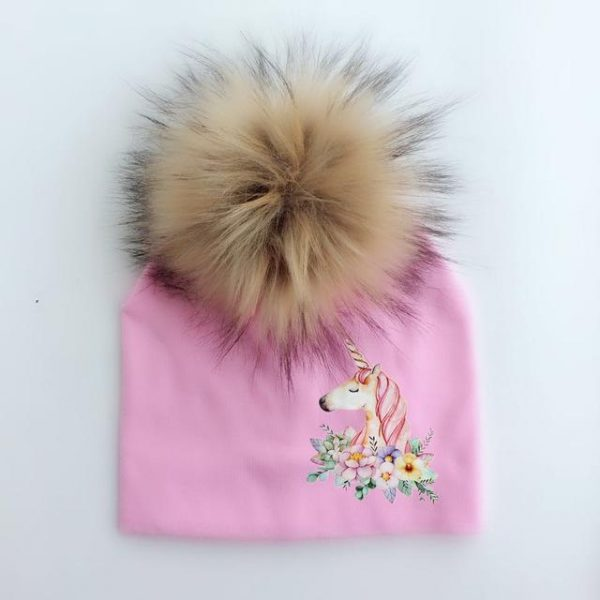 cap unicorn with pompom teenager pink not dear