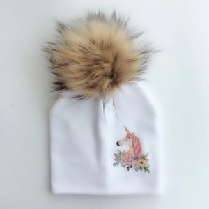 cap unicorn with pompom white drawing price