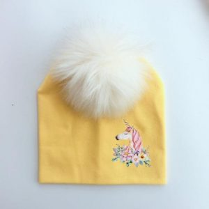 cap unicorn with pompom yellow
