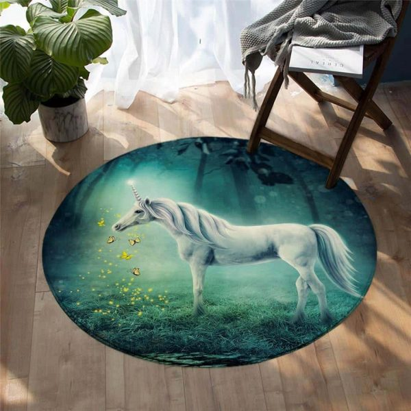 carpet unicorn round pink 100 cm at sell