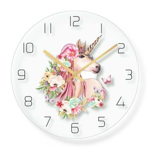 clock unicorn mural adult