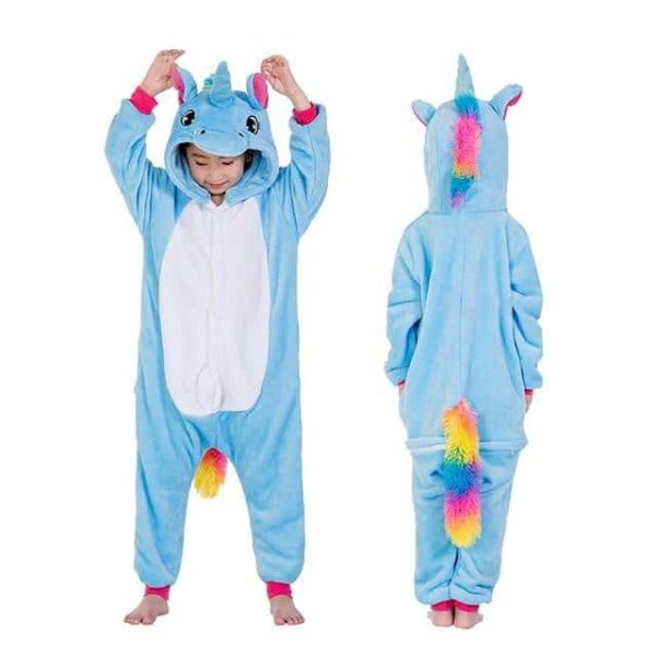 Child's blue unicorn pajamas