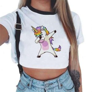 crop top unicorn kawaii dab mr crop top unicorn