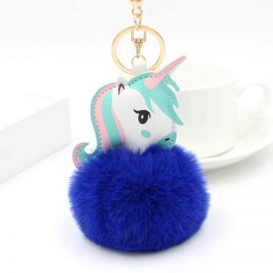 door key unicorn pompom blue dark price