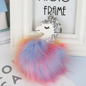 door key unicorn pompom degraded not dear