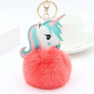 door key unicorn pompom pink fluo at sell