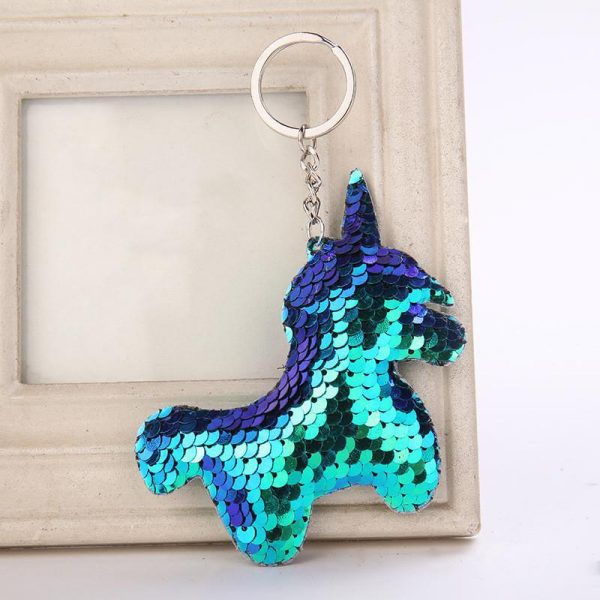 door key unicorn shiny blue