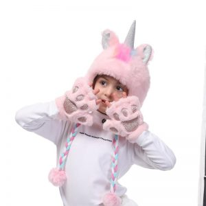 glove unicorn winter pink price