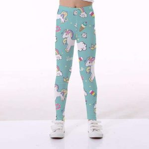 leggings unicorn girl blue green 10 11