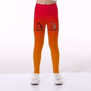 leggings unicorn girl orange degrade 10 11 leggings unicorn