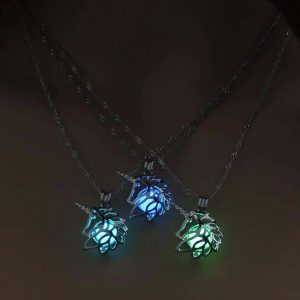 necklace unicorn luminous blue clear at sell