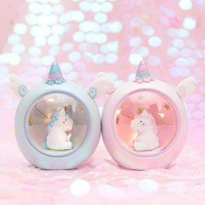 night light unicorn lamp blue decoration unicorn