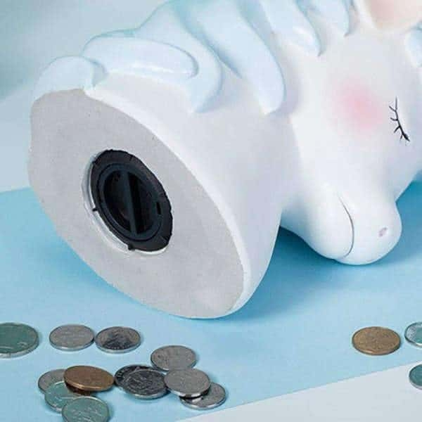 piggy bank unicorn in form of the creature blue clear not dear