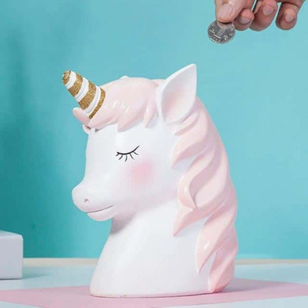 piggy bank unicorn in form of the creature blue clear unicorn backpack store