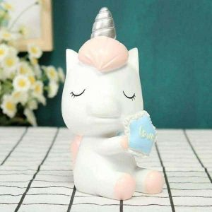 piggy bank unicorn in plastic blue unicorn backpack store