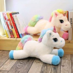 plush unicorn big in bow in sky 80cm