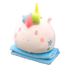 plush unicorn blanket pillow kawaii blue