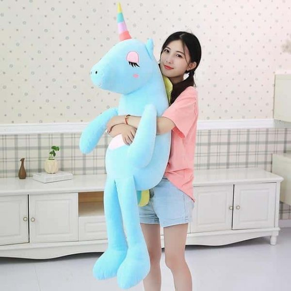 plush unicorn giant blue 140cm plush unicorn geante