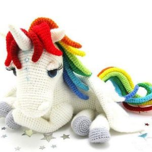 plush unicorn hook at knitting bow in sky buy