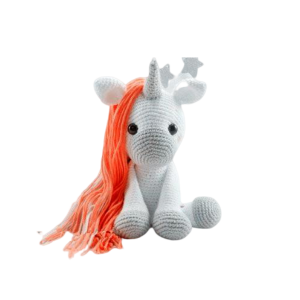 plush unicorn hook at knitting white child
