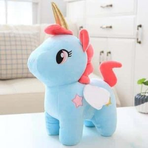plush unicorn in pink and blue 40cm pink buy