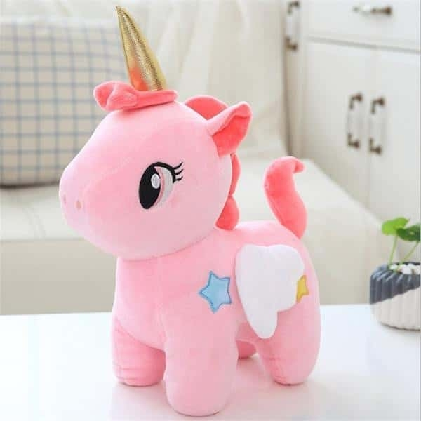 plush unicorn in pink and blue 40cm pink not dear