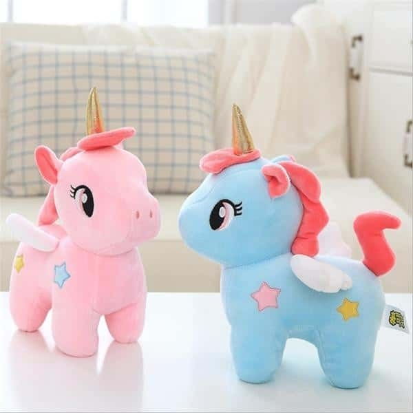 plush unicorn in pink and blue 40cm rose