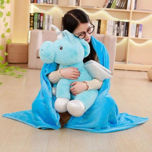 plush unicorn soft blue with wing 50cm buy