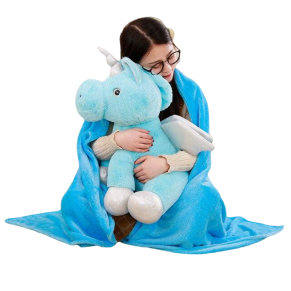 plush unicorn soft blue with wing 50cm child
