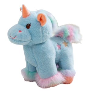 plush unicorn soft in fur blue 40cm