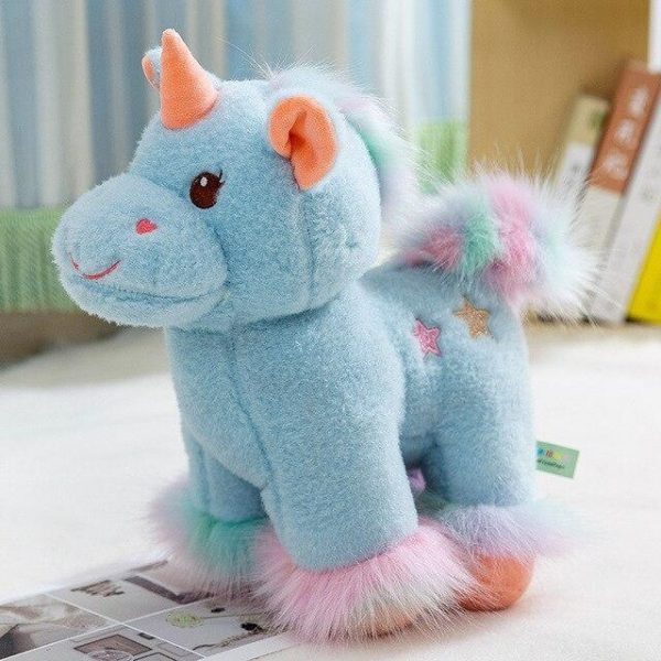 plush unicorn soft in fur blue 40cm at sell