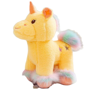 plush unicorn soft in fur yellow 50cm