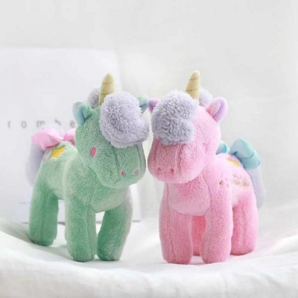plush unicorn standing green and pink 21cmx28cm pink at sell