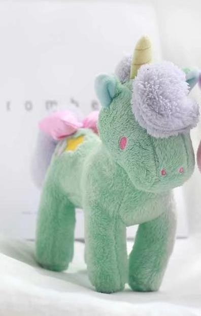 plush unicorn standing green and pink 21cmx28cm pink price