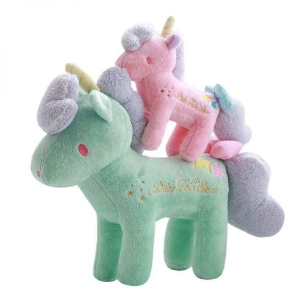 plush unicorn standing green and pink 21cmx28cm rose