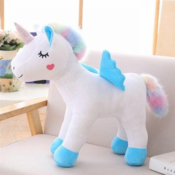 plush unicorn standing with wing blue 45cm