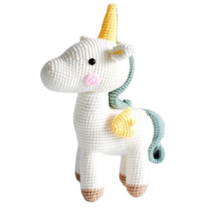 plush unicorn teddy at knitting white price